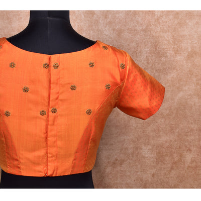 Orange Kuligai Butta Kanchi Silk Ready Made Blouse with Embroidery