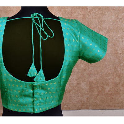 Aqua Blue Kamalam Butta Kanchi Silk Ready Made Blouse