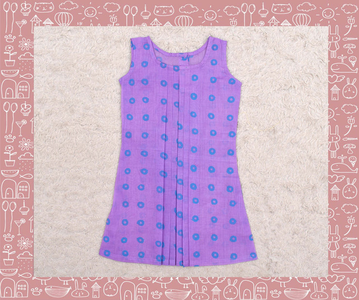 Noyyal - Lavender With Blue Circle Printed Frock (3yrs)