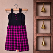 Black And Pink Checked Frock
