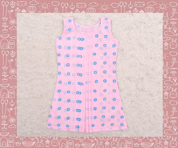 Noyyal - Baby Pink With Blue Circle Printed Frock (1yr)