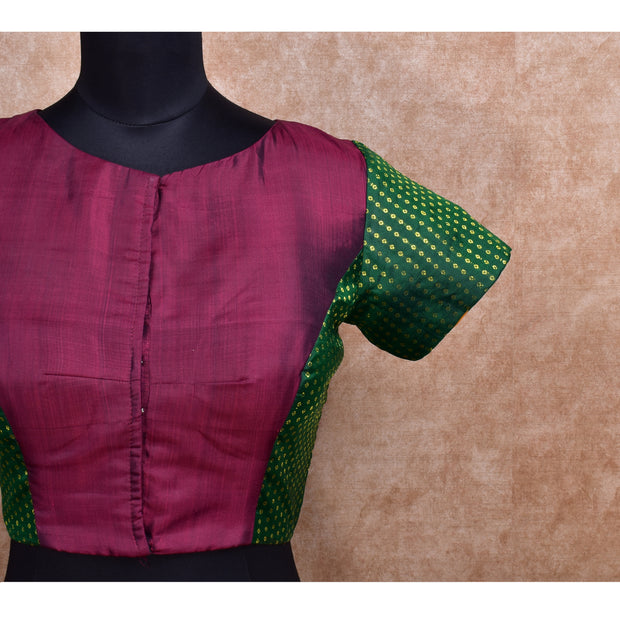 Maroon and Bottle Green Kanchi Silk Ready Made Blouse with Embroidery