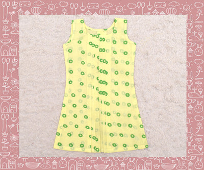 Noyyal - Yellow With Green Circle Printed Frock (3yrs)