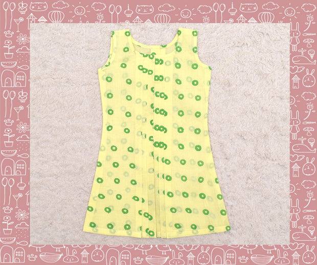 Noyyal - Yellow With Green Cricle Printed Frock (1yr)