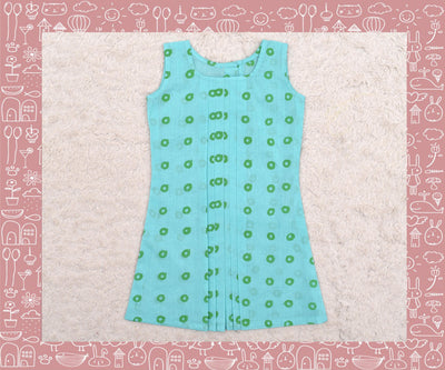 Noyyal - Seagreen With Green Circle Printed Frock (3yrs)