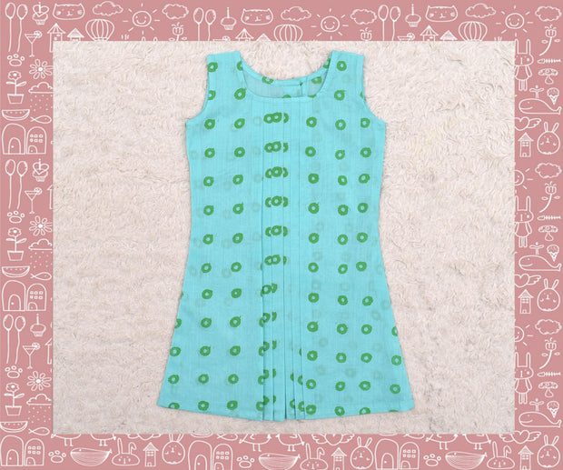 Noyyal - Seagreen With Green Circle Printed Frock (2yrs)