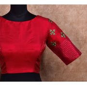 Red Kuligai Button Kanchi Silk Ready Made Blouse with Embroidery