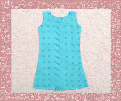 Noyyal - Turquoise With Blue Circle Printed Frock (3yrs)