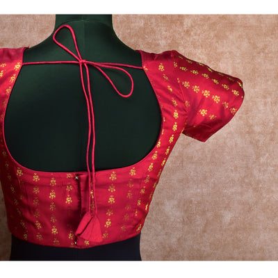 Red Kammal Zari Butta Kanchi Silk Ready Made Blouse