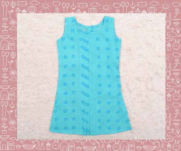 Noyyal - Turquoise With Blue Circle Printed Frock