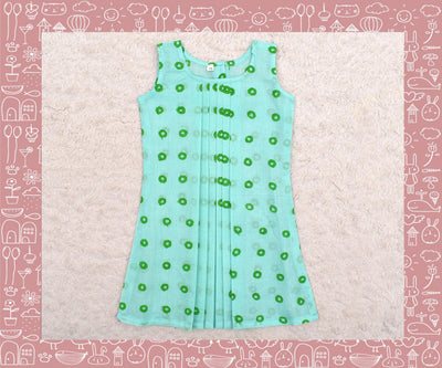 Noyyal - Apple Green With Green Circle Printed Frock (1yr)