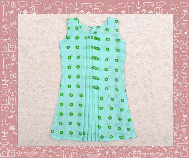 Noyyal - Apple Green With Green Circle Printed Frock