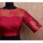 Red Kanchi Silk Ready Made Blouse with Embroidery