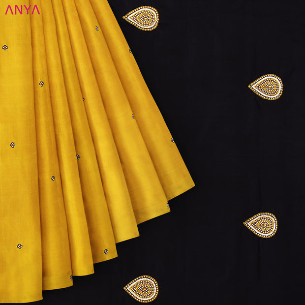 Mustard Kanchi Silk Saree With Black Blouse