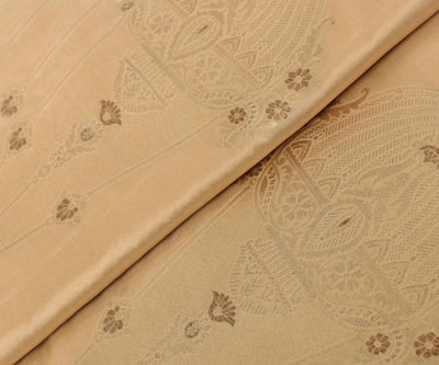 Beige Banarasi Silk Fabric With Zari Highlights