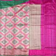 Half White Tussar Jute And Green Cotton Banarasi Half And Half Saree With Rose Jute Silk Pallu   Cotton Banarasi Silk Blouse