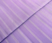 Lavender Kanchi Silk Fabric With  Striped Silver Zari Highlights