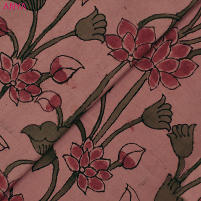 Onion Pink Pen Kalamkari Fabric
