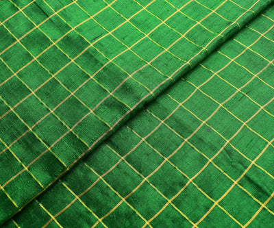 Forest  Green Checked Tussar Raw Silk Fabric