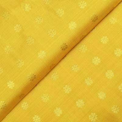 Mustard Kamalam Button Kanchi Silk Fabric