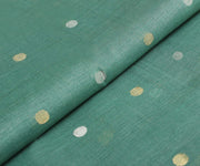 Baby Blue Tussar Fabric With Weave Buttas