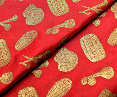 Red Banarasi Silk Fabric With Instrumental Zari Butta Highlights