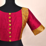 Red Raw Silk With Mustard Banarasi Silk Ready Made Blouse