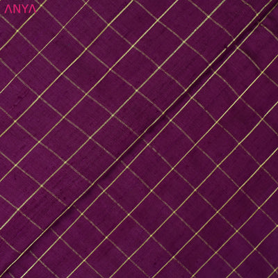 Magenta Checked Tussar Silk Fabric