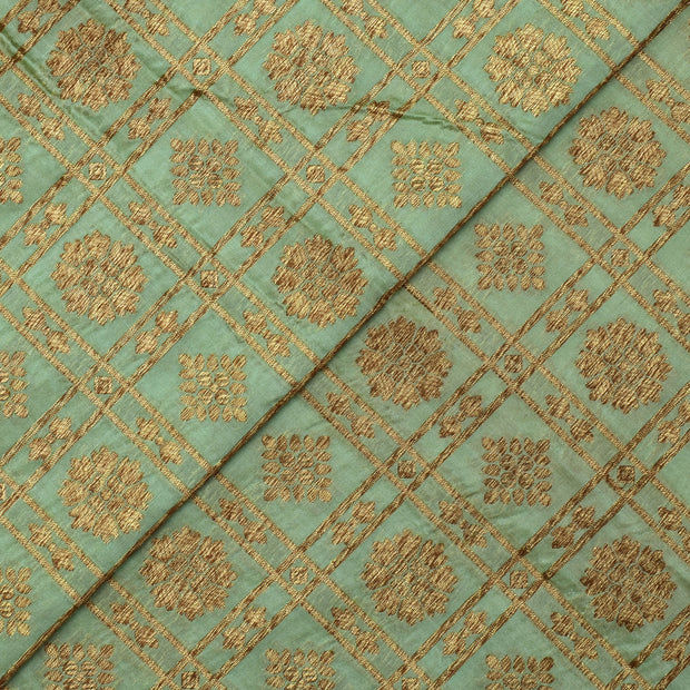 Light Mint Green Zari Kattam Floarl Butta Antique Banarasi Silk Fabri