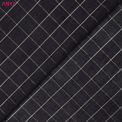 Dark Grey Checked Tussar Silk Fabric