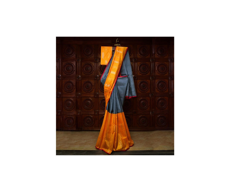 Mustard Tussar And Grey Kanchi Silk Half And Half Saree With Blouse