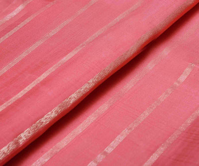 Coral Pink Kanchi Silk Fabric With Stripes Zari Design
