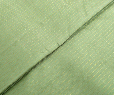 Apple Green Kanchi Silk Fabric With Striped Zari Highlights