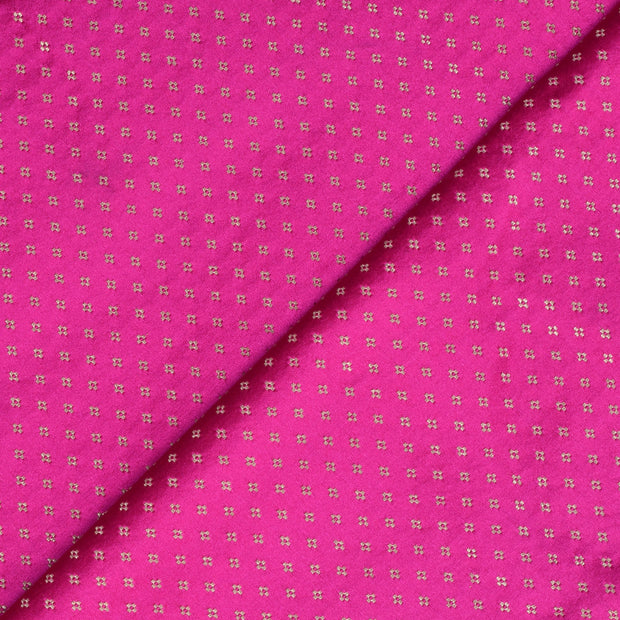 Rose 4 Kuligai Button Satin Banarasi Silk Fabric
