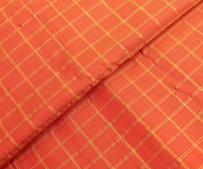 Fanta Orange Kanchi Silk Fabric With Checked Zari Highlights