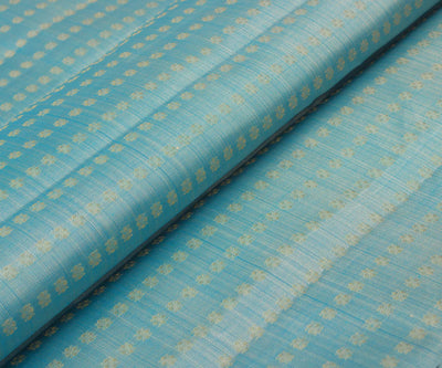 Cadet Blue Kanchi Silk Fabric with Zari Buttas