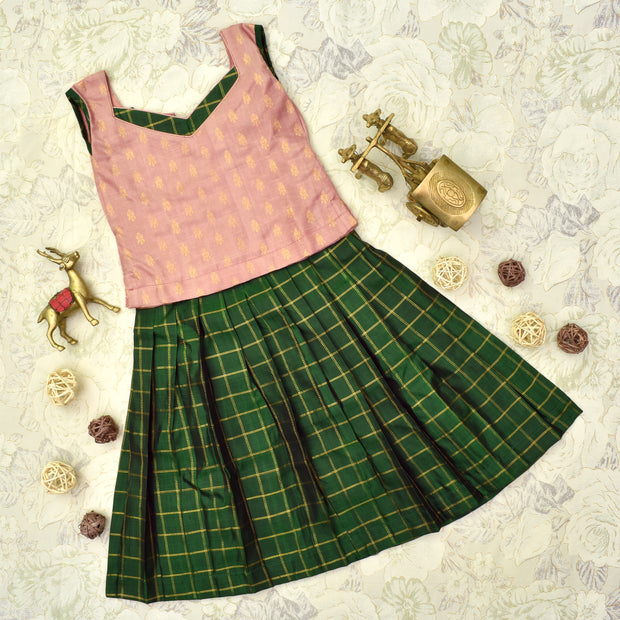 Onion Pink Top With Bottle Green Skirt