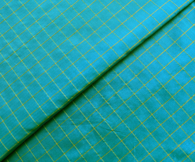 Blue Checked Silk Fabric