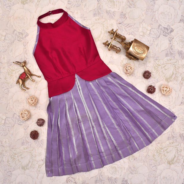 Red with Lavender Frock