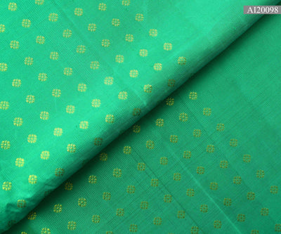 Turquoise Blue Kamalam  Button Kanchi Silk Fabric