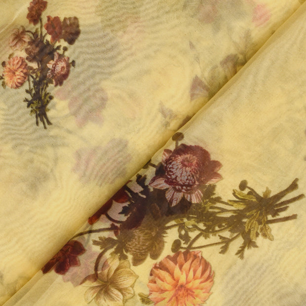 Yellow Floral Printed Organza Fabric