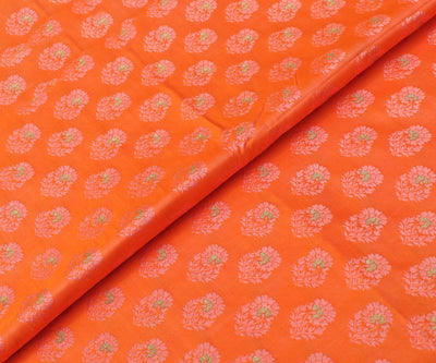 Tiger Orange Banarasi Silk Fabric With Floral Zari Highlights