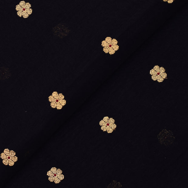Black Floral Zari Butta Soft Tussar Fabric