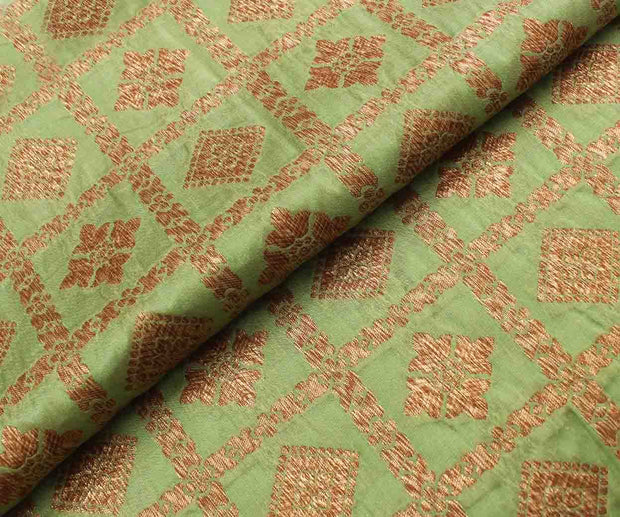 Avocado Green Checked Banarasi Silk Fabric With Antique Zari Highlights
