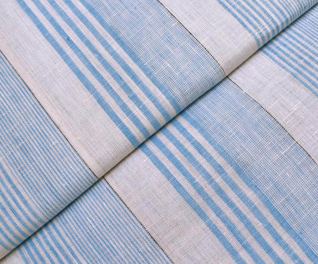 Half White Linen Fabric With Hair Line Stripes