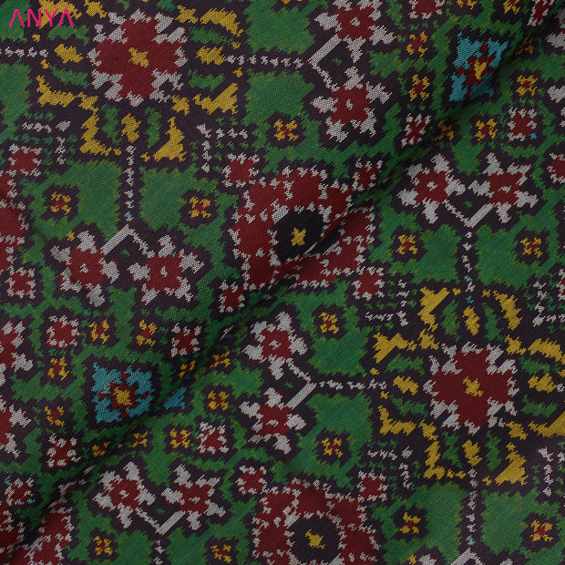 Bottle Green Patan Patola Silk Fabric With Border