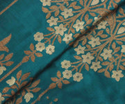 Peacock Blue Banarasi Silk Fabric with Floral Design