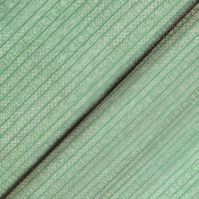 Apple Green Striped Silver Zari Design Kanchi Silk Fabric