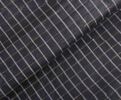 Dark Grey Self Checked Tussar Silk Fabric