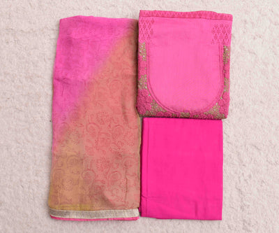 Pink Neck Line Tussar Cotton Embroidered Salwar With Pink Bottom And Half White Dupatta